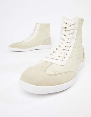 Asos DESIGN high top sneakers in off white knit