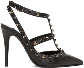 Valentino Black Rockstud Rolling Heels $1,095 thestylecure.com