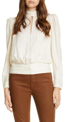 Frame Jacquard Stripe Keyhole Silk Long Sleeve Blouse