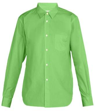 Comme des Garcons Logo Embellished Cotton Poplin Shirt - Mens - Green
