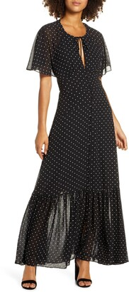 Ever New Spotted Chiffon Maxi Dress