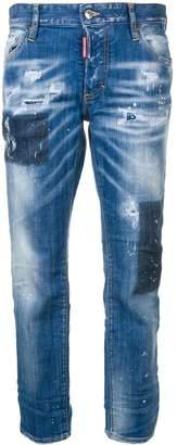 DSQUARED2 bleached holes boyfriend jeans