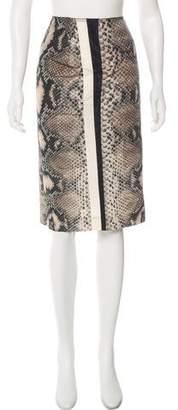 Prada Silk Snakeskin Print Skirt