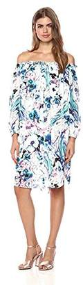 Wild Meadow Women's Abstract Floral Brushstroke Off The Shoulder Peasant Shirt Dress XL