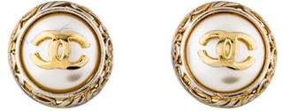 Chanel CC Faux Pearl Clip-On Earrings