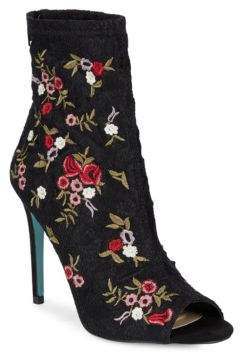 Betsey Johnson Diem Floral Embroidered Peep Toe Booties