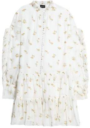 Magda Butrym Leather-Trimmed Silk-Crepe Mini Dress