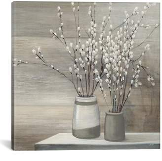 Pussy Willow Still Life Gray Pots Crop by Julia Purinton Canvas Print