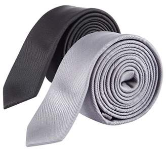 Burton 2 Pack Grey And Black Skinny Tie