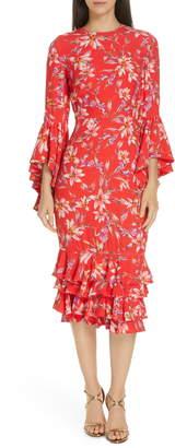 AMUR Carole Ruffle Trim Midi Dress