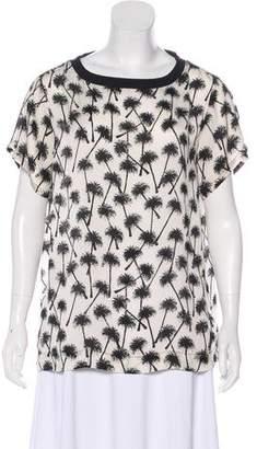 L'Agence Palm Tree Print Short Sleeve Top