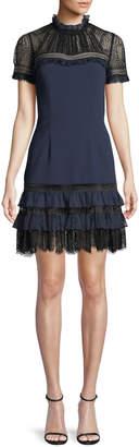 Jonathan Simkhai Lace Mock-Neck Plisse Tulle Mini Cocktail Dress