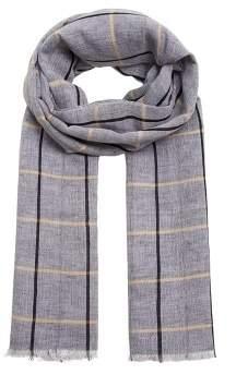 Mango Man MANGO MAN Checked linen cotton scarf