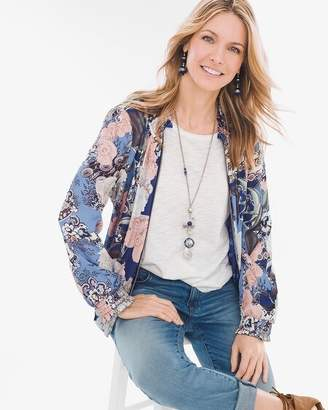 Chico's Chicos Reversible Floral-Mixed-Print Shirred Bomber Jacket