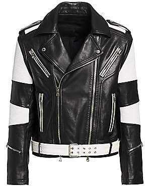 f94a902a5 Men's Contrast Leather Moto Jacket