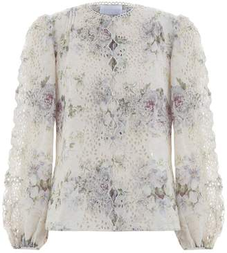 Zimmermann Iris Scallop Front Top in Violet Floral
