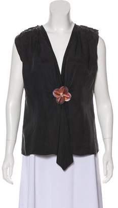 Lanvin Cap Sleeve Embellished Top