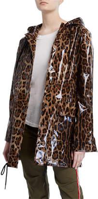 Pam & Gela Snap-Front Leopard-Print Raincoat