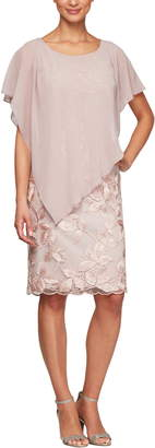 Alex Evenings Overlay Embroidered Shift Dress