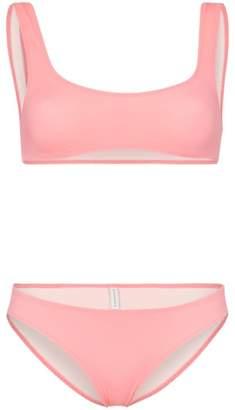 3003996ab72e5 Solid   Striped crop top bikini set