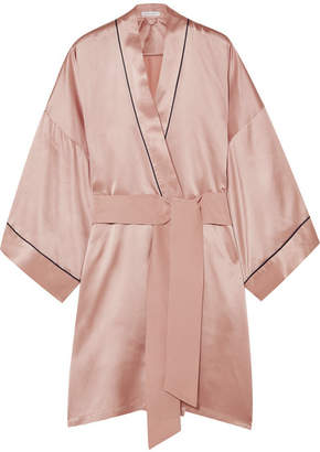 Olivia von Halle - Mimi Silk-satin Robe - Pastel pink