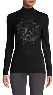 Versace Embellished Long-Sleeve Sweater