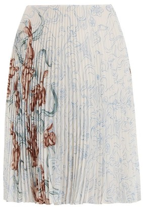 Prada Pleated Rabbit Print Skirt - Womens - Blue Print