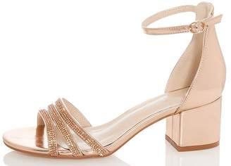 Quiz Rose Diamante Low Block Heels
