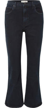 Proenza Schouler Pswl Cropped High-rise Flared Jeans - Midnight blue