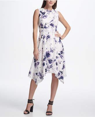 DKNY Floral Handkerchief Hem Dress