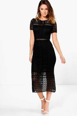 boohoo Boutique Crochet Midi Dress