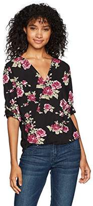 Amy Byer A. Byer Junior's Young Women's Teen Printed Roll Tab Sleeve Wrap Front Top