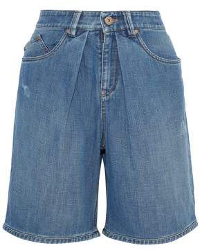 Brunello Cucinelli Pleated Distressed Denim Shorts