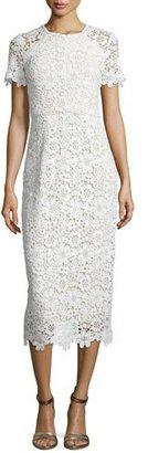 Shoshanna Short-Sleeve Lace Sheath Dress, Optic $410 thestylecure.com