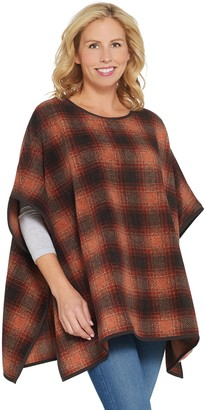 Denim & Co. Plaid Fleece Pullover Poncho