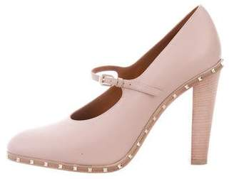 Valentino Round-Toe Mary Jane Pumps