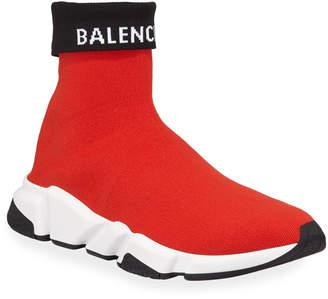 Balenciaga Men's Speed High-Top Fold-Over Sock Sneakers