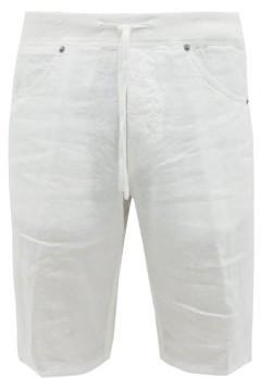 120% Lino Drawstring Linen Shorts - Mens - White