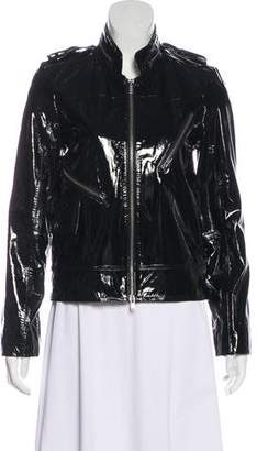 Alice + Olivia Zip-Up Patent Leather Jacket