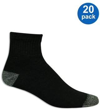 Athletic Works Men's Big & Tall Athletic Cushioned Ankle Socks Value 20 Pack