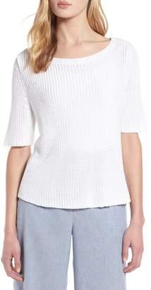 Halogen Shaker Stitch Cotton Sweater (Regular & Petite)