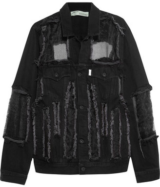 Off-White - Organza-paneled Frayed Denim Jacket - Black $1,365 thestylecure.com
