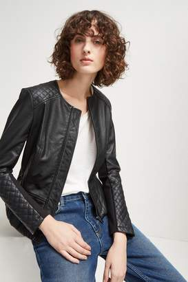 French Connection Stephanie Faux Leather Quilted Jacket