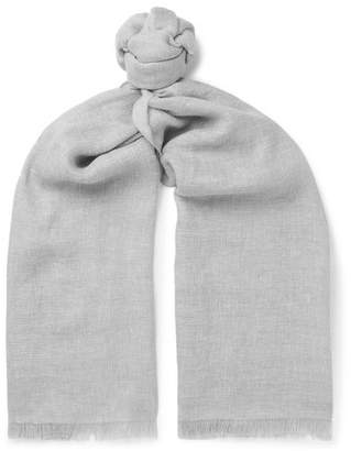 Ermenegildo Zegna Fringed Linen, Cashmere And Wool-Blend Scarf