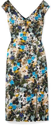 Erdem Jyoti Floral-print Cotton-blend Jacquard Midi Dress - Blue