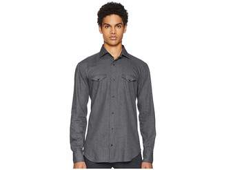 Eleventy Brushed Wool Western Snap Shirt