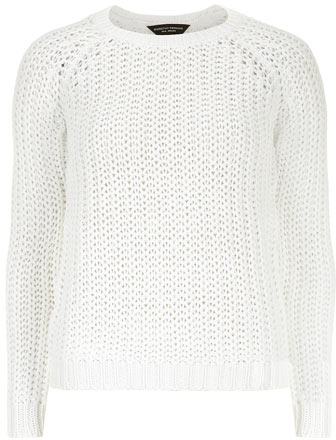White chunky textured knit sweater