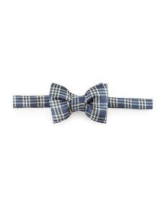 TOM FORD Textured Prince of Wales Plaid Bow Tie, Blue $250 thestylecure.com