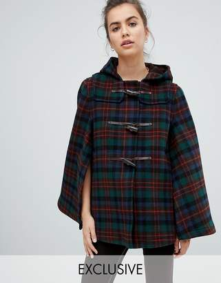 Gloverall Exclusive Cape Duffle in Plaid
