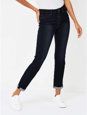 Dark Wash Turn-Up Hem Straight Leg Jeans